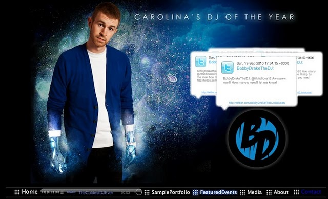 DJ Bobby Drake's website was created with a Wix.com Flash template