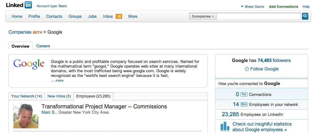 Company page on LinkedIn