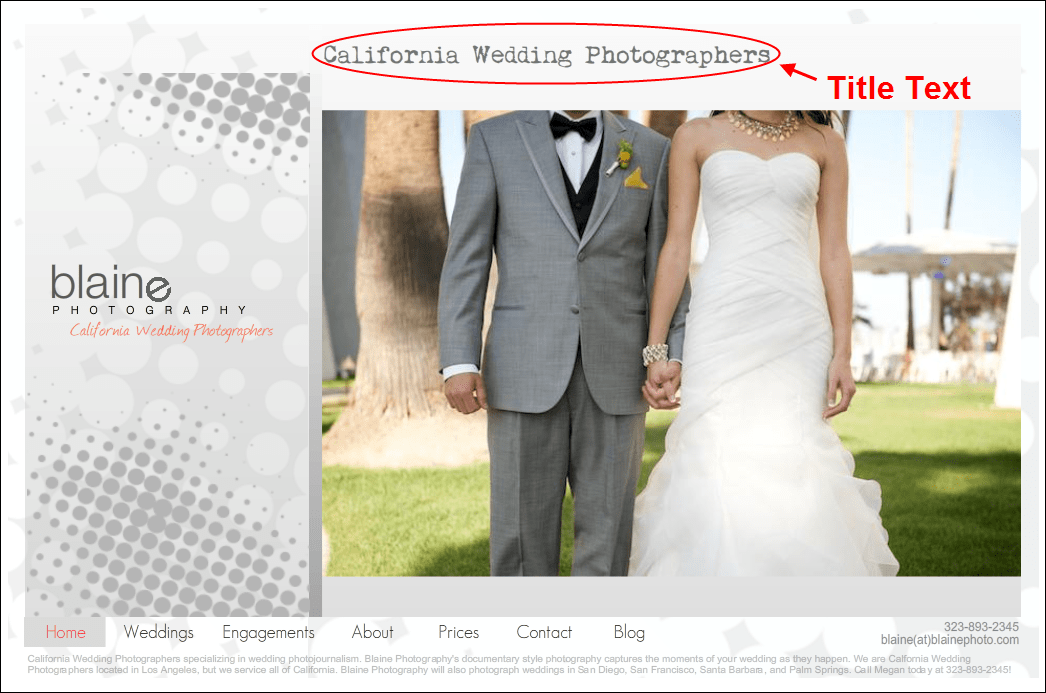 Title Text on a Wix Website