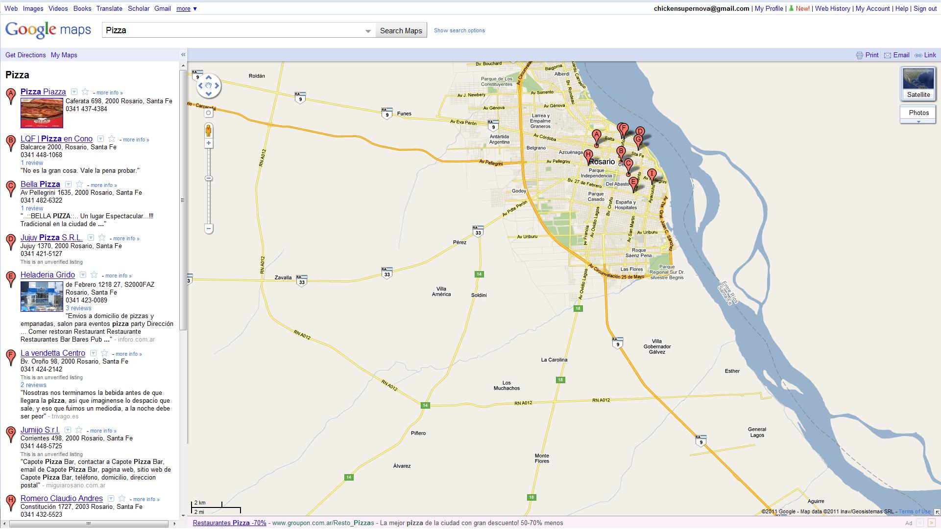 google mapas listado de negocios