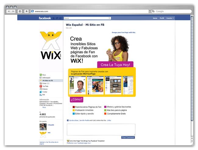 Aplicación Wix para Facebook