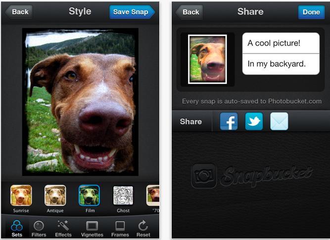 Snapbucket app for smartphone
