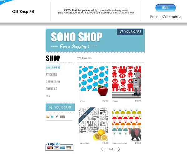 Plantilla FB para Online Store Wix
