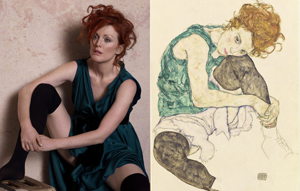 Julianne Moore by Peter Lindbergh as Seated Woman With Bent Knee by Egon Schiele for Harper's Bazaar.