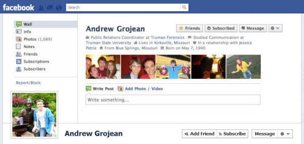 Andrew Grojean FB Timeline design
