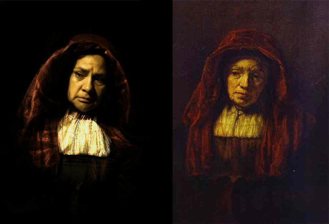 "Rembrandt ""Portrait of an Old Woman"" Remake by Ivonne Vergara Martínez"