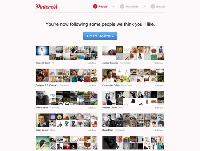 Pinterest sign-up step 2