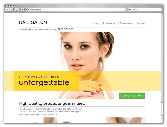 HTML5 Nail Salon Wix Template
