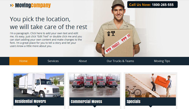 Moving company Wix website template