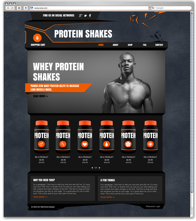 Protein Shakes Wix eCommerce Template