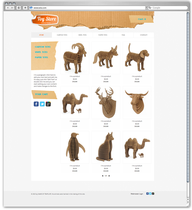 Toy Store Wix Template