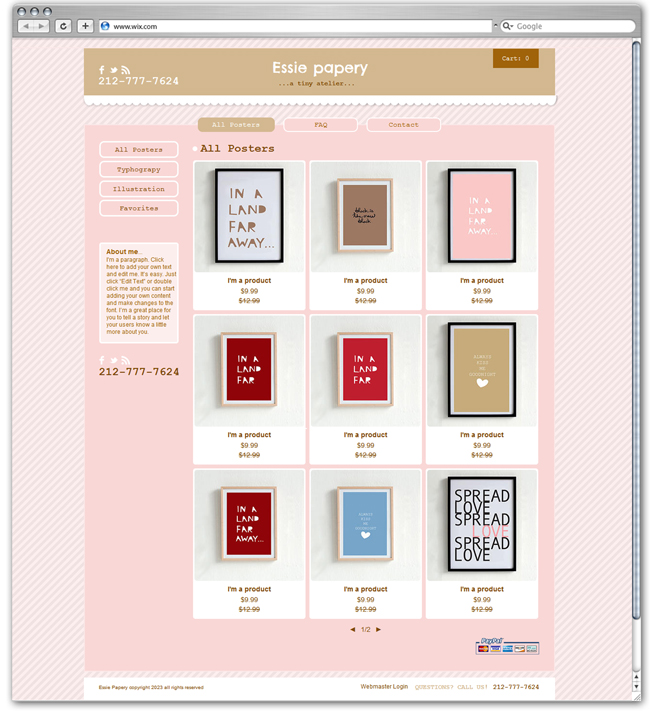 Poster Shop | Wix' new eCommerce Template