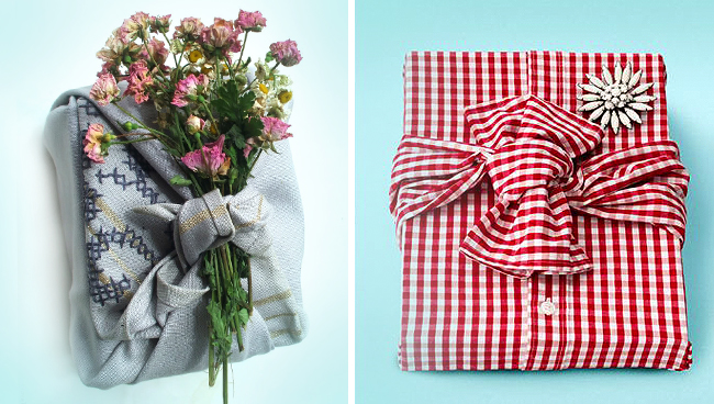 shirt or scarf as replacment to wrapping paper