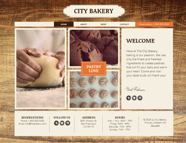 City Bakery Template