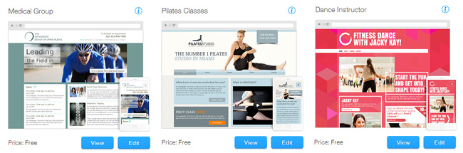 Wix health and wellness templates