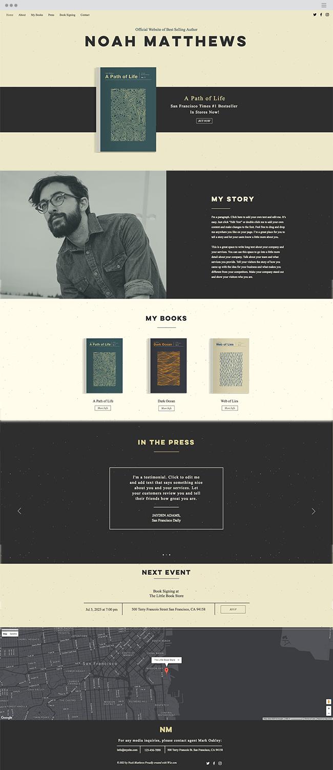 author website template