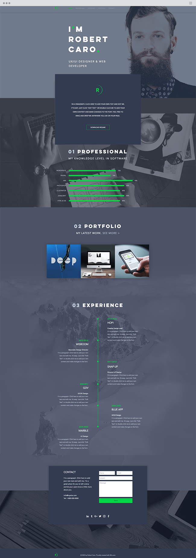 ux designer website template